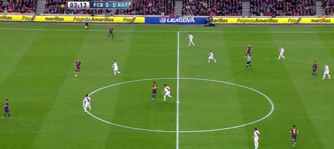 Aber nicht nur die Katalanen pressten hoch. Auch Rayo ließ den gegnerischen Spielern keine Ruhe. Sie formierten sich dabei in einem 4-4-1-1/4-4-2, wo der tiefere Spieler sich oft situativ an Busquets orientierte. Das Metronom des FC Barcelona nahmen sie dann in ihren Deckungsschatten.