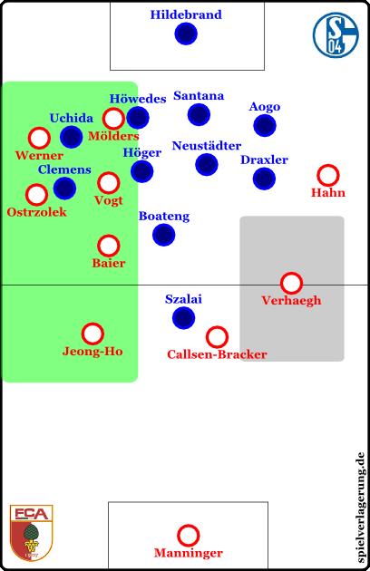 Im grünen Raum ist Augsburg gar in Überzahl, im grauen Raum ist Platz für Verlagerungen. Aber es fehlt: Die Durchschlagskraft.