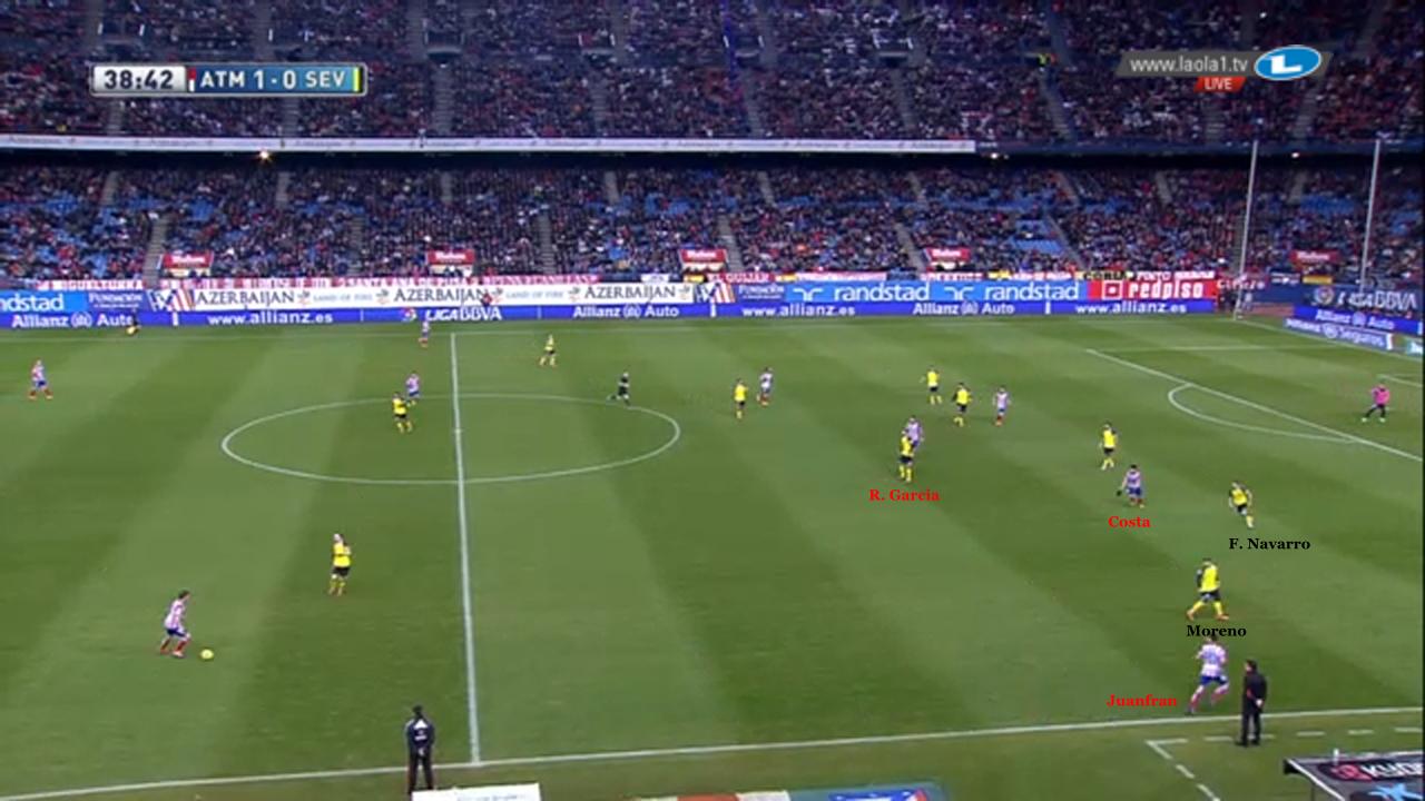 Raul Garcia ist weit eingerückt und besetzt den Zehnerraum. Juanfran startet einen Diagonallauf, um seinen mannorientierten Gegenspieler Alberto Moreno zu binden und weiteren Raum zu schaffen. Diego Costa startet zeitgleich einen dynamischen Lauf in den so freigezogenen rechten Halbraum.