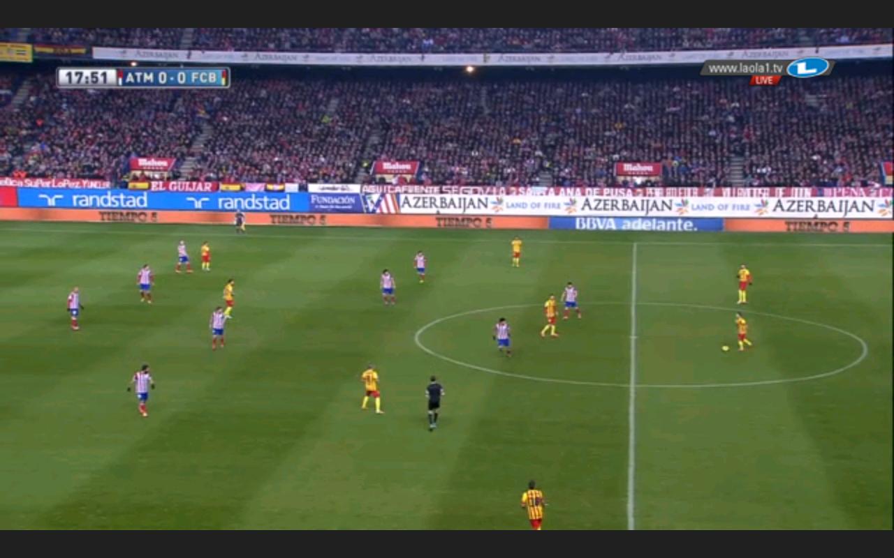 Atléticos 4-4-2 und Busquets im Würgefang der Stürmer, ähnlich dem 4-4-2(-0) Bayerns in der CL-Saison unter Heynckes.