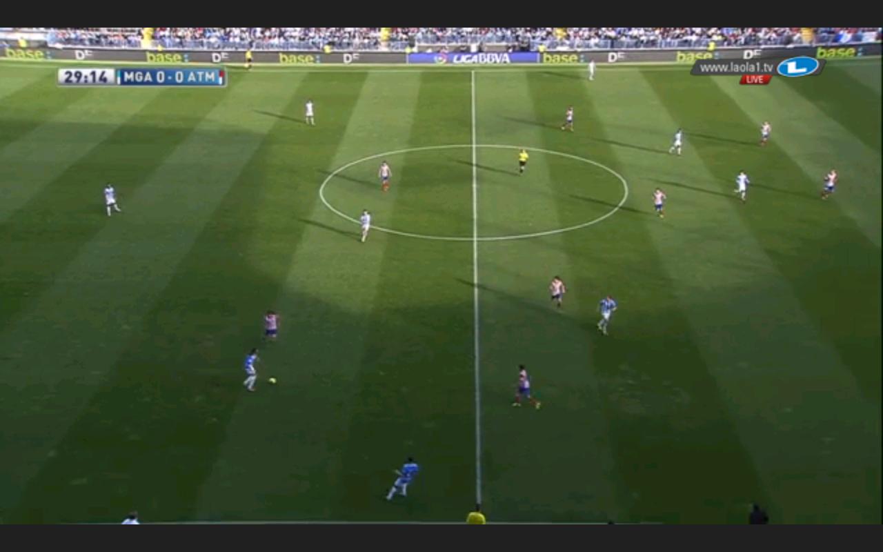 Malaga im 3-4-3 offensiv ohne gependelten Sechser mit tiefer kommendem Flügelverteidiger