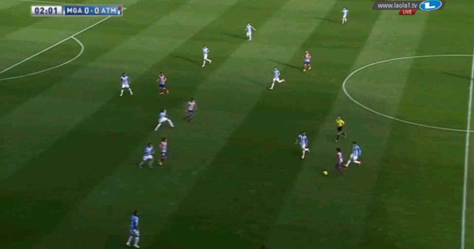 Malaga im überaus kompakten 5-4-1 mit viel Herausrücken