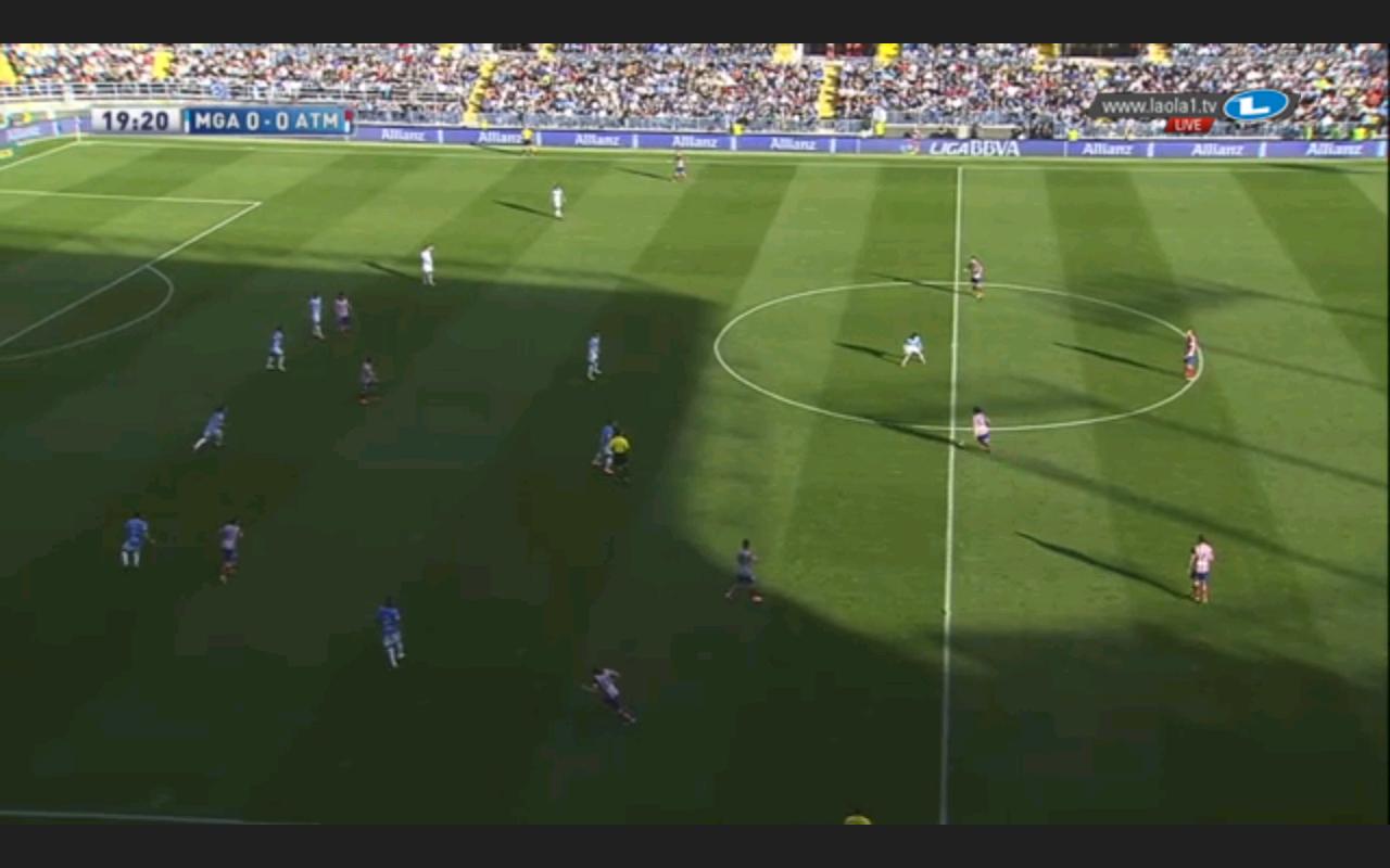 Atlético im Spiel gegen Malagas situatives 6-3-1 - Koke und die beiden Sechser decken viel Raum ab, die anderen Spieler rücken weit nach vorne auf.
