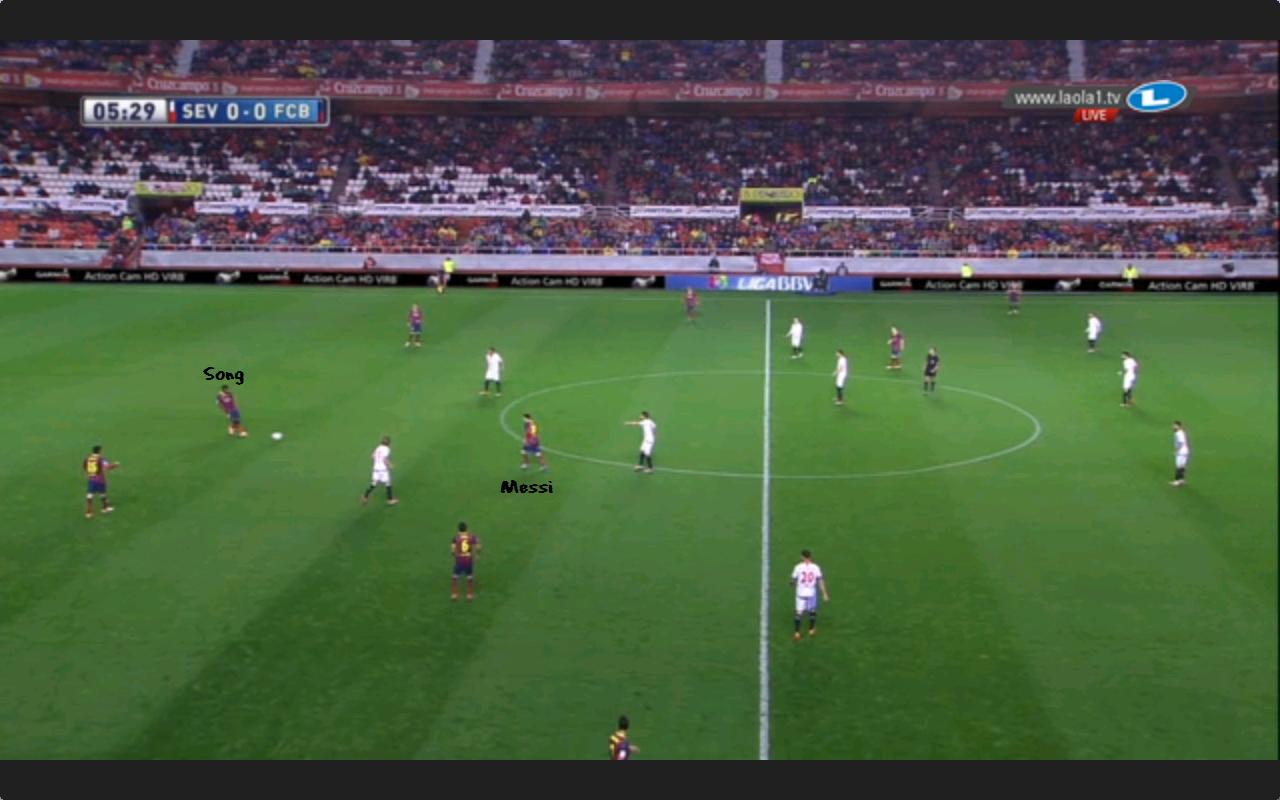 Song ist hier abgekippt und Sevilla steht im 4-4-2.
