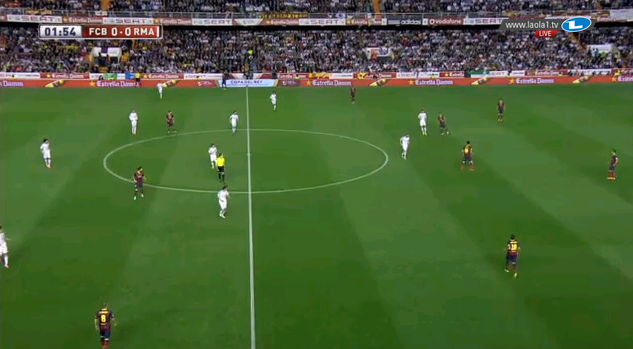 Real steht im 4-4-2, Barcelona im 4-2-4