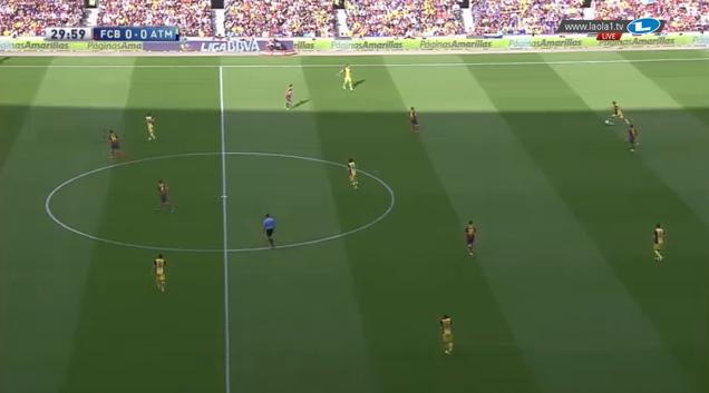 Barcelonas 4-1-4-1/4-3-3 in der Defensive, hier im 4-1-2-3, Messi steht auf rechts und Iniesta ist aufgerückt.