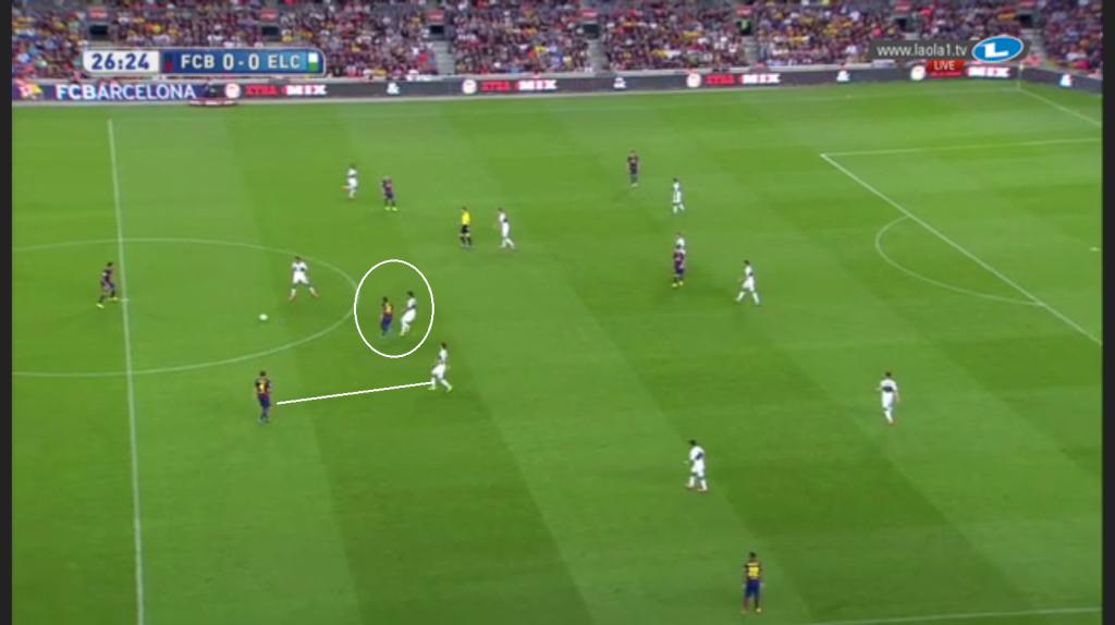 Barcelona in Ballbesitz, Elche noch mit Viererkette und bei Barcelona sieht man Iniesta und Rakitic in den Halbräumen sowie nur einen Spieler breit in der Flügelzone; ansonsten eine überaus enge Staffelung im Kollektiv.