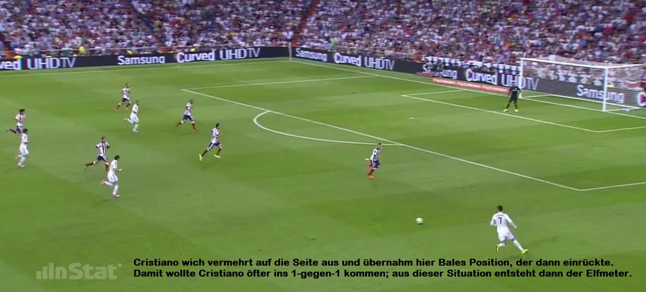 Cristiano als Rechtsaußen gegen Atlético