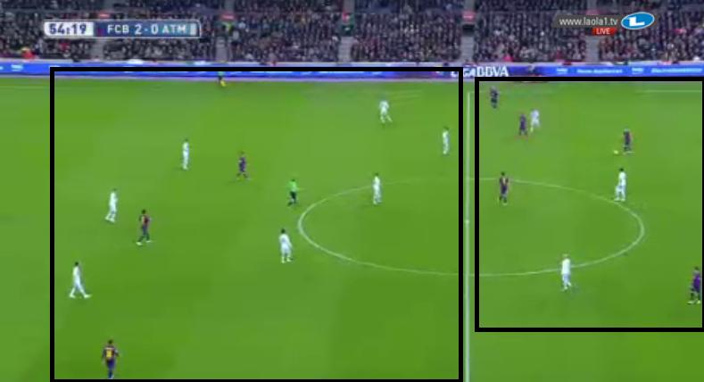 7 gegen 3. Barcelona spielt Rondo in der ersten Linie.