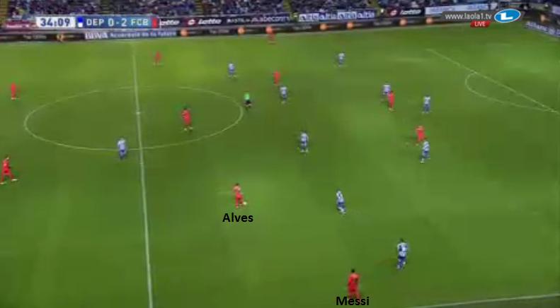 Alves' Rolle im Halbraum als Spielgestalter bei breitem Messi.