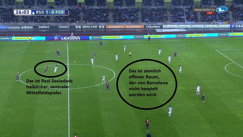 Manndeckungen und das entstehende 4-3-2-1 (mit dem LZM als Mittelstürmer) sowie Staffelungsprobleme  bei Barcelona.
