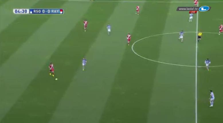 Rayo im Aufbau gegen Real Sociedads 4-4-2.