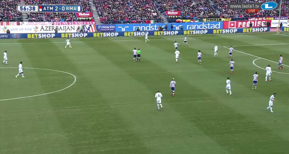 Das 4-4-2-0 von Atlético. Die Stürmer stehen nun sehr tief. Diese Szene ist allerdings etwas extrem.