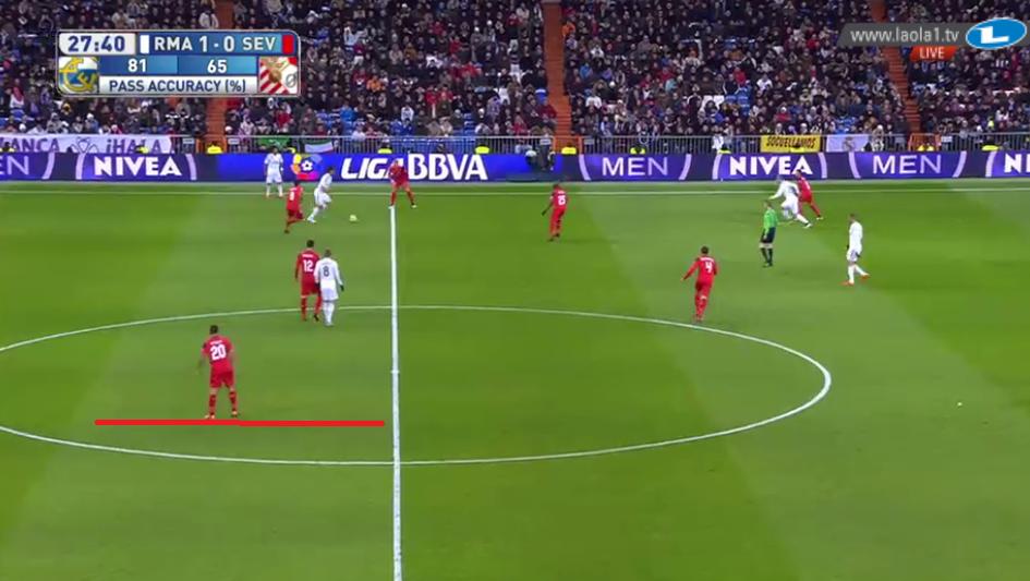 Sevilla erzeugte teilweise massive Horizontalkompaktheit. Diese Szene war besonders extrem.