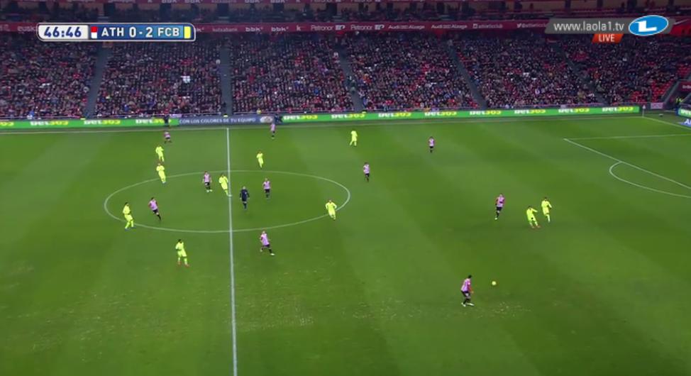 Suarez links und Neymar MS im 4-1-2-3-Pressing.