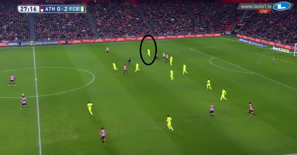 Aber das gab es nur situativ. Oft war es auch ein 4-1-2-3, welches asymmetrisch angelegt war. Mal arbeitete auf rechts keiner nach hinten, mal Messi, mal Suarez statt Messi.