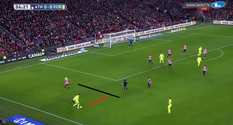 Wieso Vorderlaufen? Hier sieht man, wie Alba Neymar den Raum öffnet.