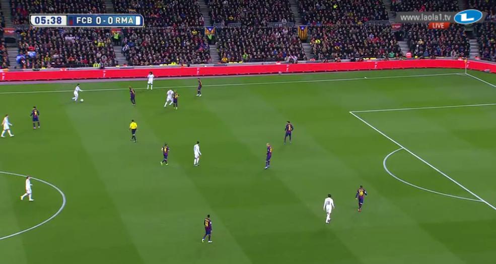 Barcelona asymmetrisch gegen den Ball