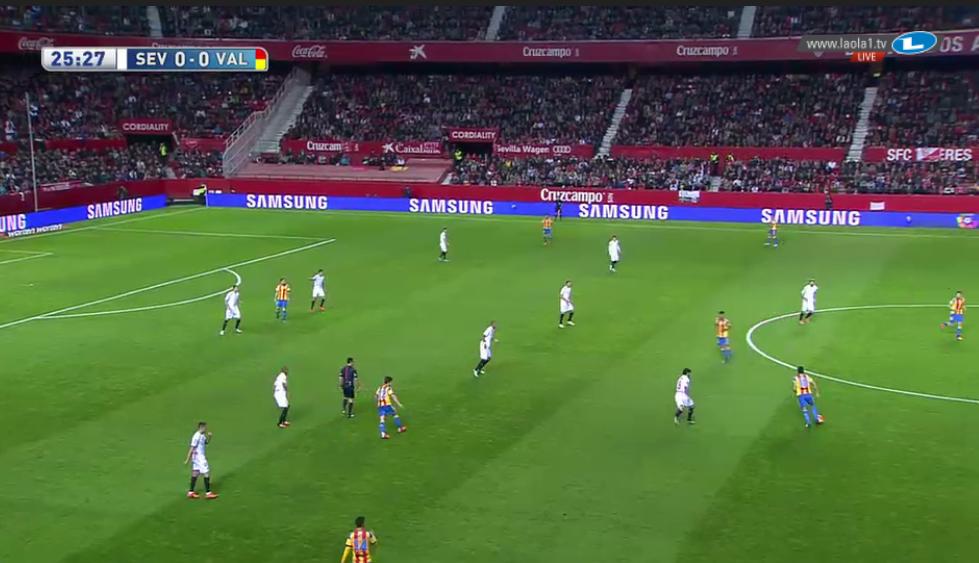 Valencias unpassende Besetzung ist hier zu sehen; der Flügelstürmer auf links lässt sich zurückfallen, wodurch sie quasi zu siebt vor dem Abwehrblock Sevillas stehen. Sevillas Außenverteidiger kann sich sogar das weite, mannorientierte Verfolgen seines Gegenspielers gefahrlos leisten.