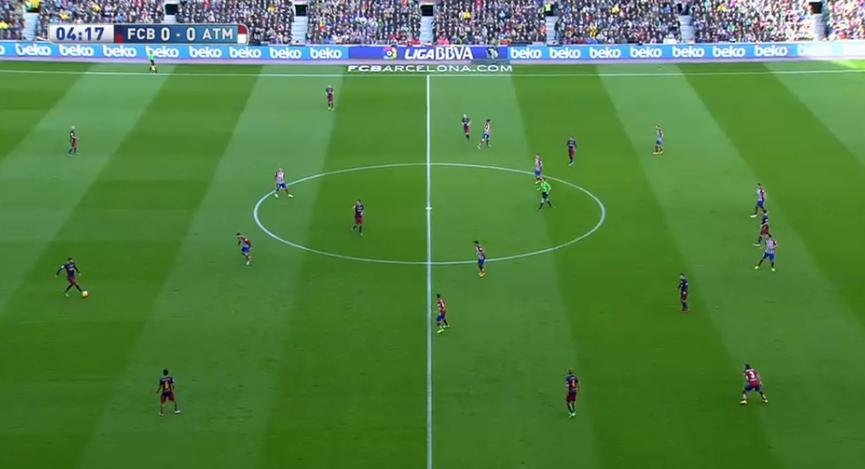 Atléticos 4-4-2 gegen Barcelonas enges 4-1-2-3 mit der Asymmetrie