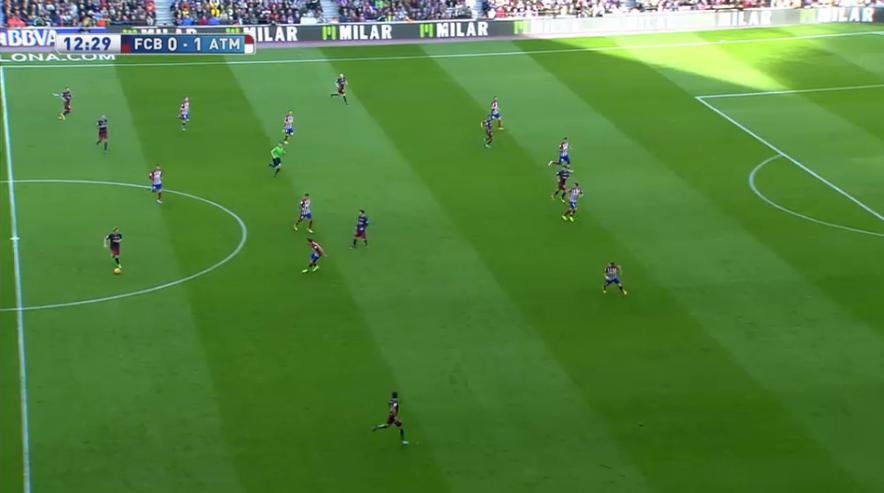 Besonders stark funktionierte bei Atlético zu Beginn das Übergeben von Spielern. Hier rückt Filipe Luis heraus, das Mittelfeld steht sehr eng und der Flügelstürmer weit eingerückt zentral.