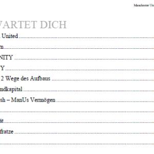 Inhaltsverzeichnis Finanzanalyse Manchester United