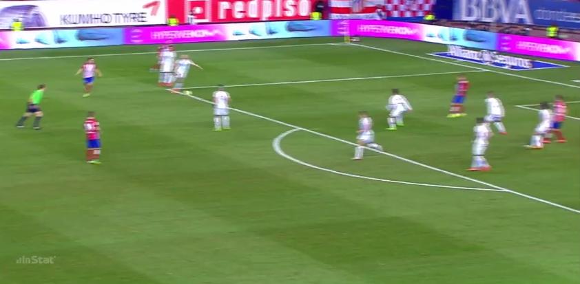 Eine Konsequenz von geringem Zustellen der Kurzpassoption: Atlético spielt flach heraus, dringt in den Halbraum ein, spielt flach in den Strafraum, Griezmann trifft.