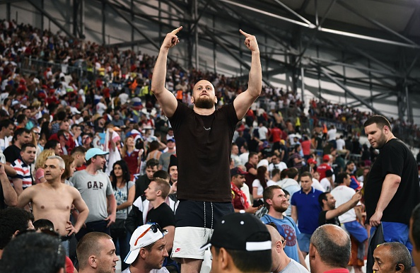 A Russia supporter gestures during the Euro 2016 group B football match between England and Russia at the Stade Velodrome in Marseille on June 11, 2016. / AFP / BERTRAND LANGLOIS (Photo credit should read BERTRAND LANGLOIS/AFP/Getty Images)
